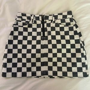 Urban Outfitters Light-wash Checkered Jean Skirt!